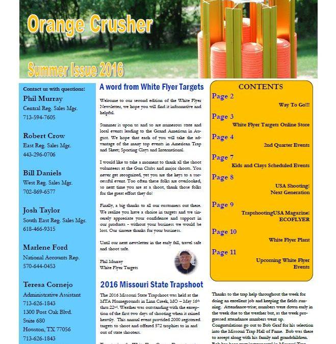 """Summer 2016 Newsletter """"The Orange Crusher"""""""