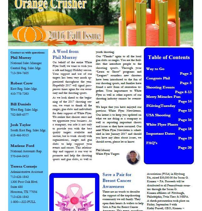 """Fall 2016 Newsletter """"The Orange Crusher"""""""