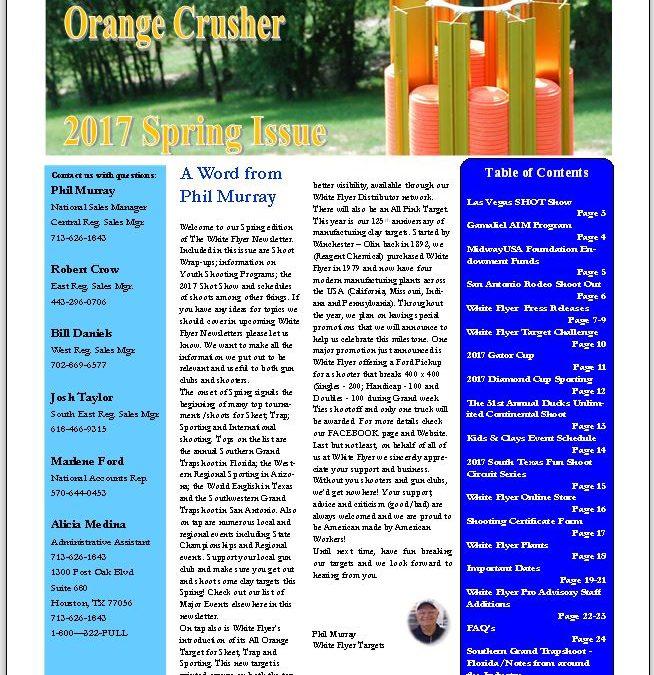 """Spring 2017 Newsletter """"The Orange Crusher"""""""