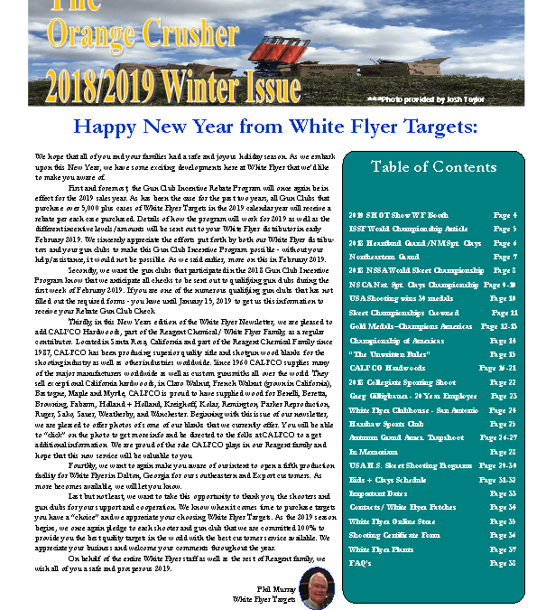 "Winter 2018-19 Newsletter ""The Orange Crusher"""